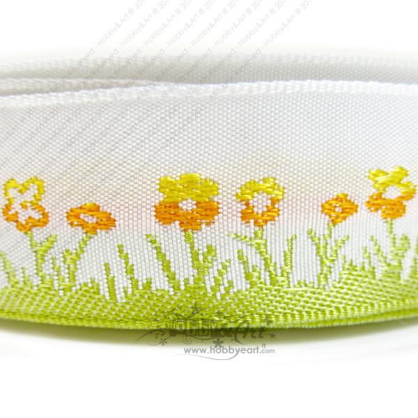 Nastro motivo floreale e bordi animati 25mm