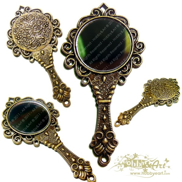 Specchio 4 in metallo colore Bronzo anticato