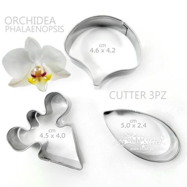 Cutter Orchidea Phalaenopsis, 3 pezzi, in acciaio