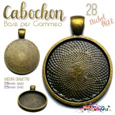Cabochon - Base per Cammeo 28mm color Bronzo. Nichel Free