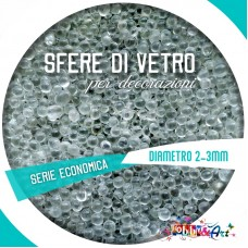 Microperle in vetro, diametro 2-3 mm lieve iridescenza 50gr