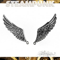 Steampunk Wings 2 in metallo col. Argento